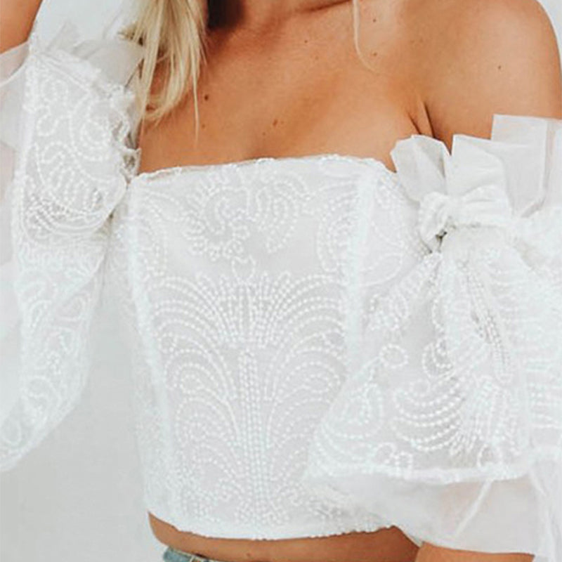 Elegant Nifty Fashion Lace Off Shoulder Ruffled Flare Sleeve Tube Crop Blouse