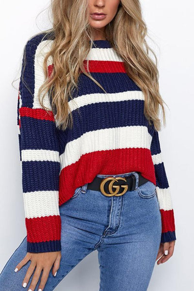 Round Neck  Striped  Casual  Sweaters