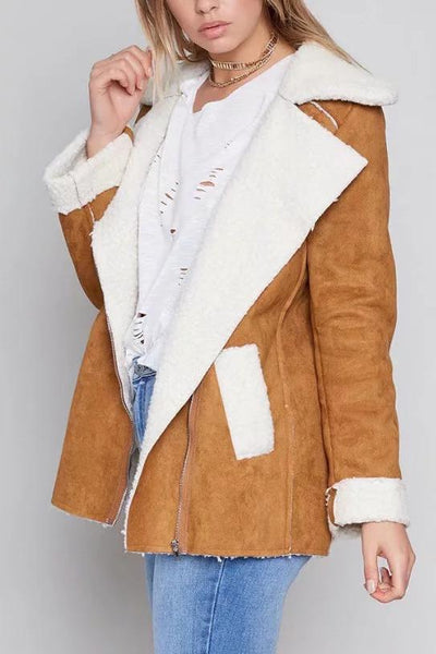Fashion Casual Loose Thermal Color Block V Collar Long Sleeve Coat Cardigan