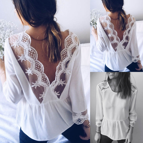 Sexy Lace V Word Open Back Medium Long Sleeve Shirt