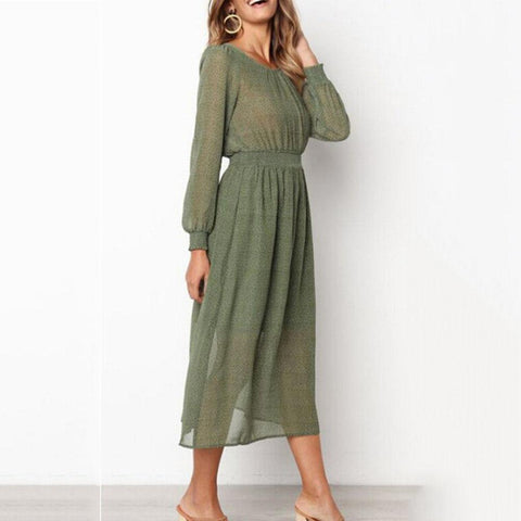 Round Neck Lantern Sleeves Waist Casual Dress