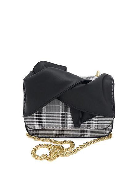 Fashion Elegant Rectangle Shape Plaid Bowknot Front Chain One Shoulder Bag