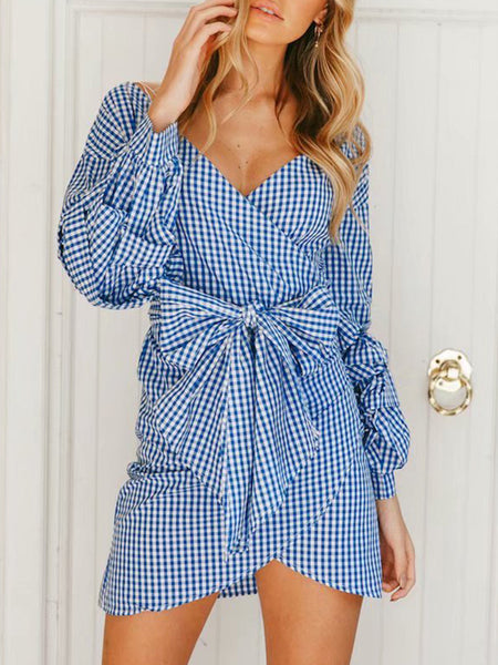 Fashion Plaid Long Sleeve Mini dress