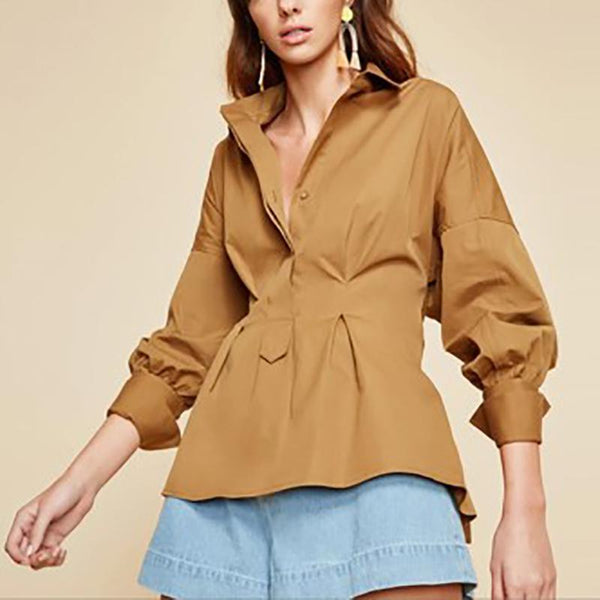 Elegant Polo Collar Bell Sleeve Waist Blouse