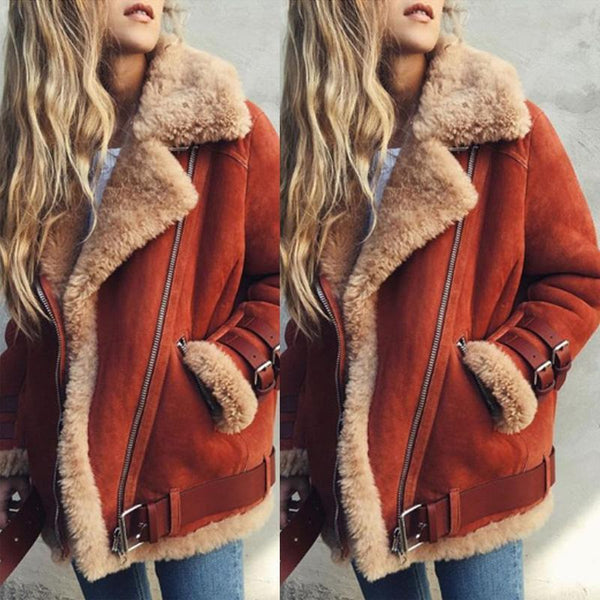 Faux Fur Collar Lapel  Zipper  Plain Coats