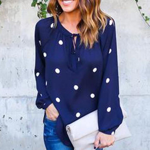Polka Dot Long Sleeve V-Neck Chiffon Shirt