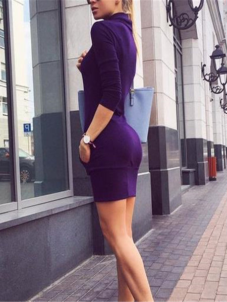Elegant Fashion Slim Plain High Collar Long Sleeve Sweater Bodycon Dress