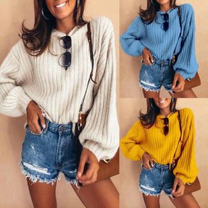 Fashion Lantern Long Sleeve Plain Knitting Sweaters