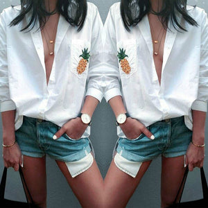 Casual Fashion Loose White Button V Collar blouses