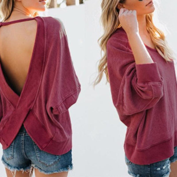 Sexy Backless Sweater Woman