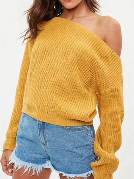 Fashion Casual Loose Plain Wide Collar Long Sleeve Thermal Sweater