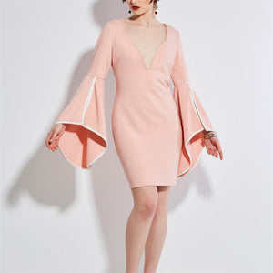 Elegant Fashion Business Slim Plain V Collar Flare Long Sleeve Bodycon Dress