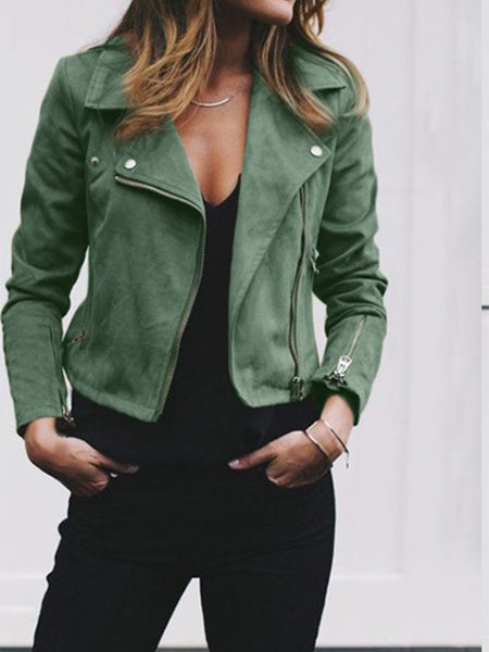Fashion Cool Casual Loose Plain Zipper V Collar Long Sleeve Jacket Cardigan