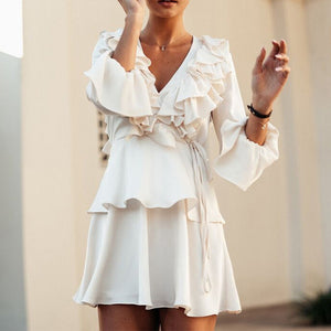 Elegant Sweet Fashion Casual Plain Ruffled V Collar Puff Long Sleeve Shift Dress