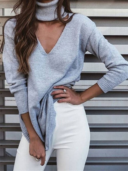 Sexy Fashion Casual Loose Plain High Waist Long Sleeve Long Sweater
