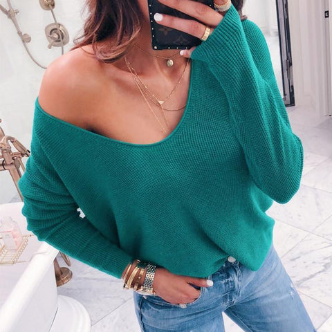 Sexy V-Neck Long-Sleeved Solid Color Blouse