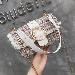 Fashion Casual Rectangle Plaid Fringe Buckle One Shoulder Hand Bag