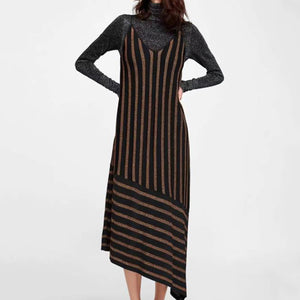 Fashion Casual Nifty Loose Strip Sleeveless Irregular Hem Braces Maxi Dress