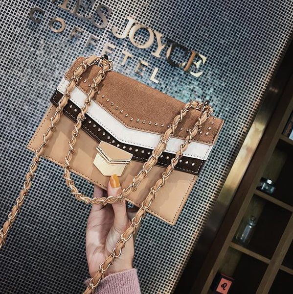 Fashion Casual Square Shape Color Block Chain One Shoulder Bag