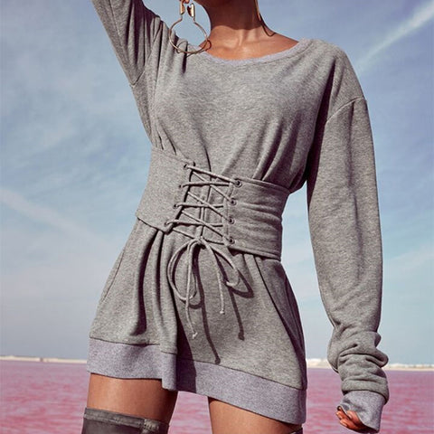 Large Round Neck Slim Bandage Long Sweater