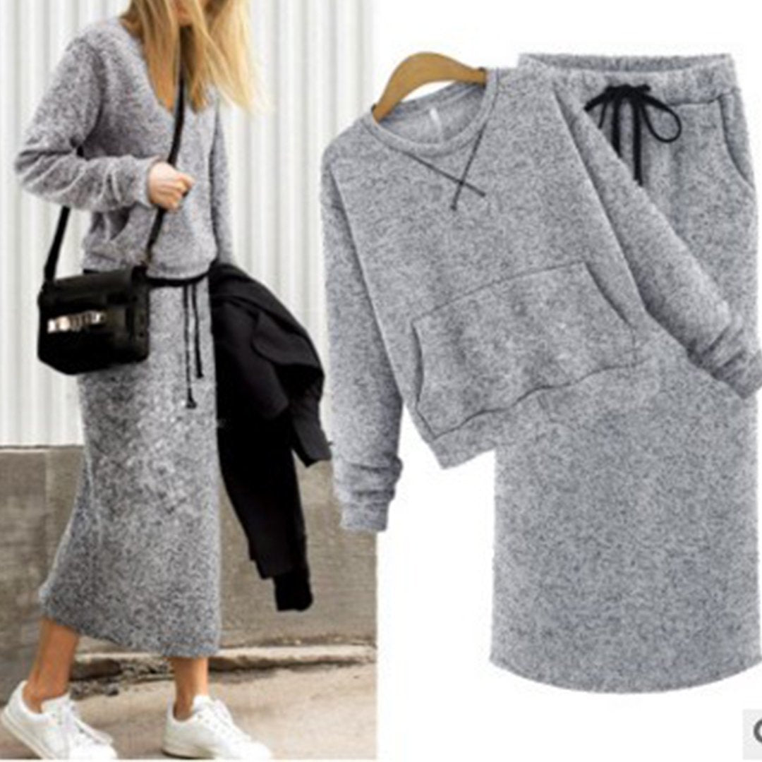 Fashion Long-Sleeved Shirt Long Two-Piece Suit sweter