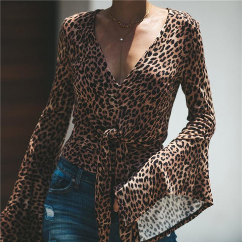 New Women's Leopard Waistband V-Neck  Shirt