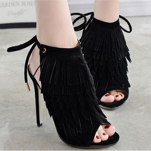 Fringed Wind Heel Laced High Heel Fish Mouth Sandals Women's Shoes