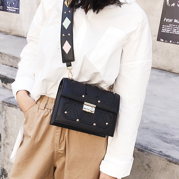 Fashion Casual Business Rectangle Rivet Leather Long Sleeve Bag