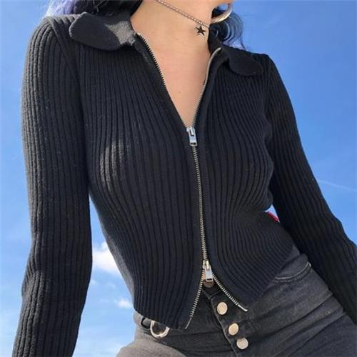 Fashion Lapel Plain Zipper Shirt