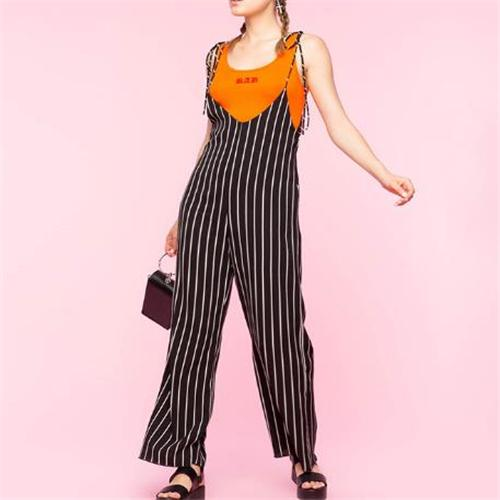 Fashion Sling Stripe Wide Leg Jumpsuit