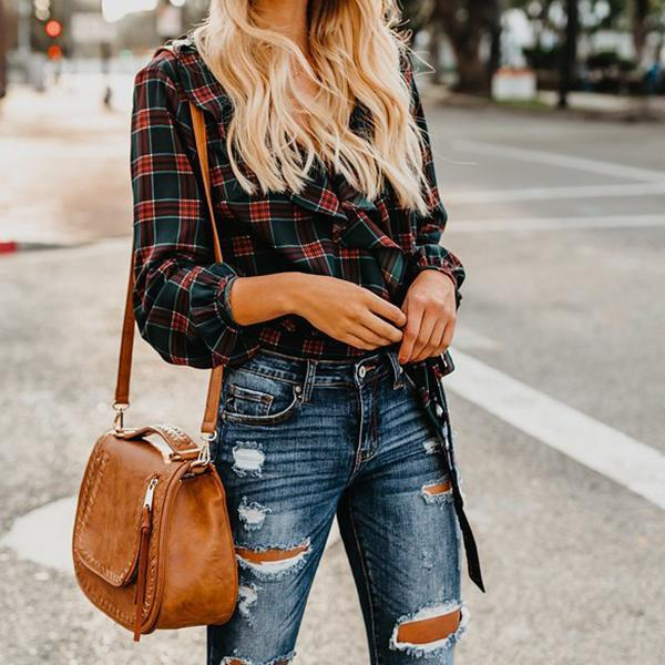 Long Sleeve Ruffle Lace Up Plaid Shirts