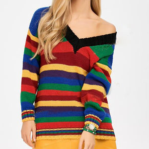 Sexy Deep V Collar Colorful Stripe Sweater