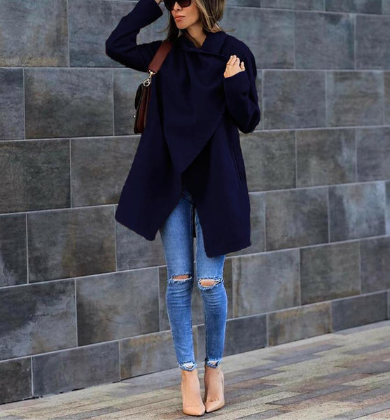 Fashion Temperament Pure Color Long-Sleeved Warm Coat