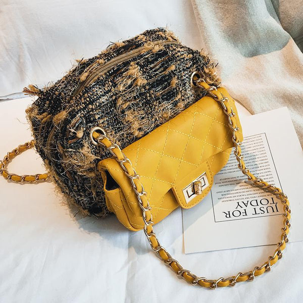 Chic Casual Woolen Rhombus Buckle Chain One Shoulder Bag