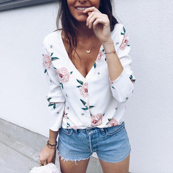 Fashion V-Neck Flower Long-Sleeved Casual Shirt