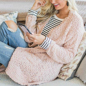 Casual Long Sleeve Pocket Plain Knitting Cardigans