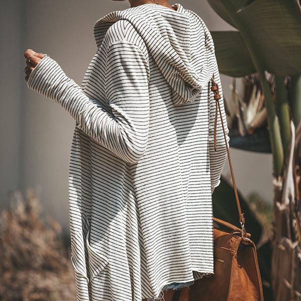 Striped Printed Hooded Long Sleeve Cardigans