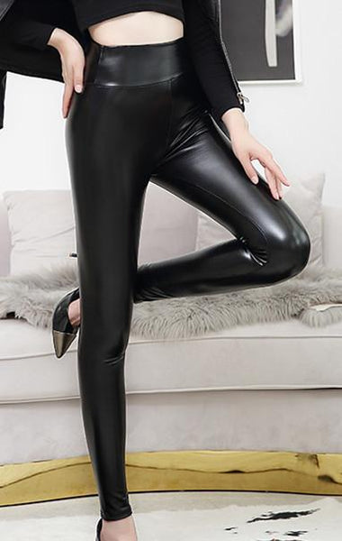Sexy High Waist PU Bright Leather Under pants