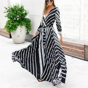V Collar Collar Stripe Printed Maxi Dress