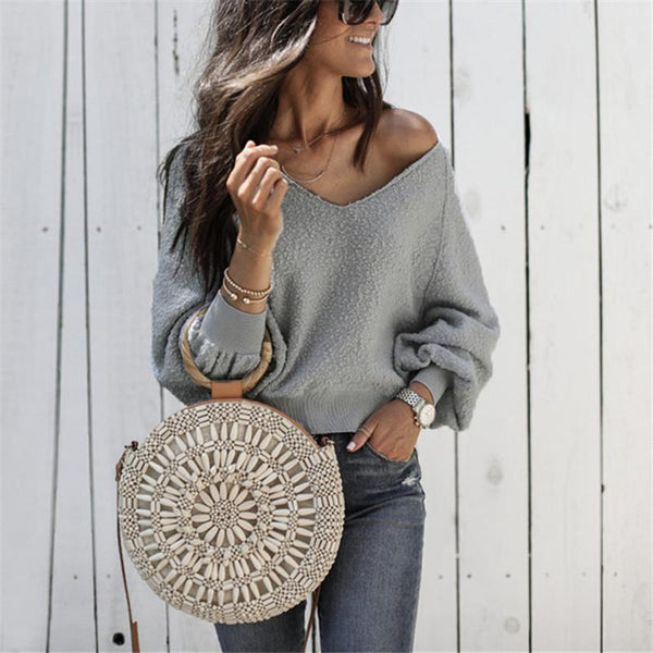 A Stylish Round Collar Long-Sleeved Shirt