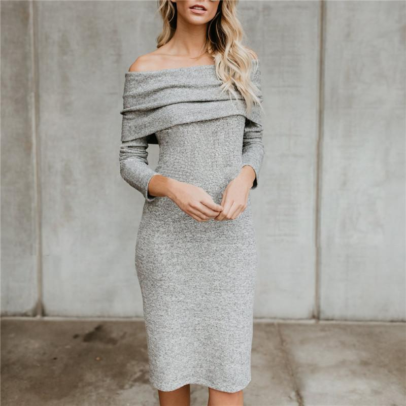 Autumn And Winter Fashion Open-Shoulder Knitted Dress