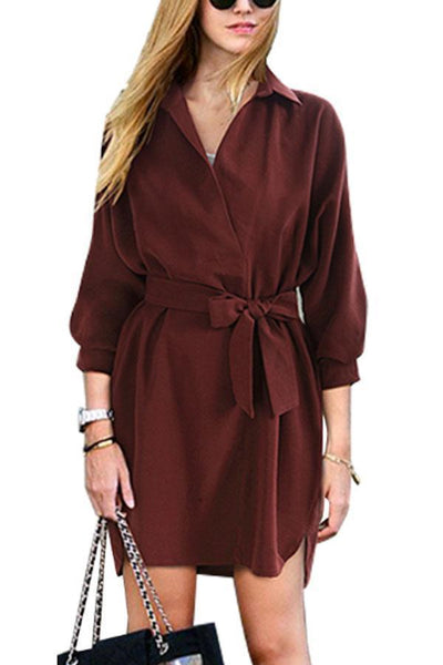 Turn Down Collar  Belt  Plain  Long Sleeve Casual Dress
