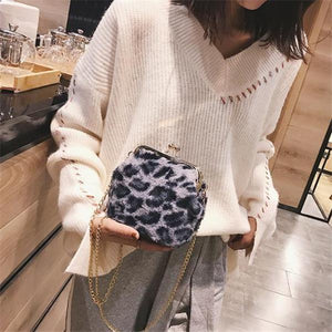 Casual Fashion Suede Leopard Print Buckle Chain One Shoulder Small Bag
