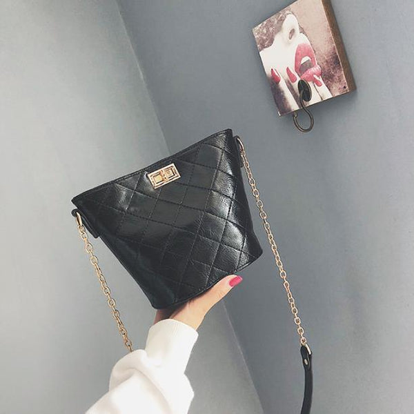 Casual Chic Leather Bucket Chain One Shoulder Bag