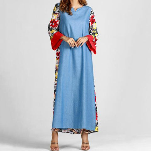 Ladies' Autumn And Winter Print Long Dress