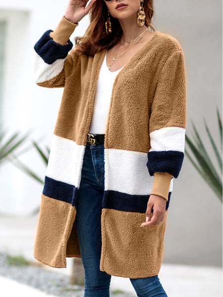 Women's Long Section Stitching Cardigan Plush Coat