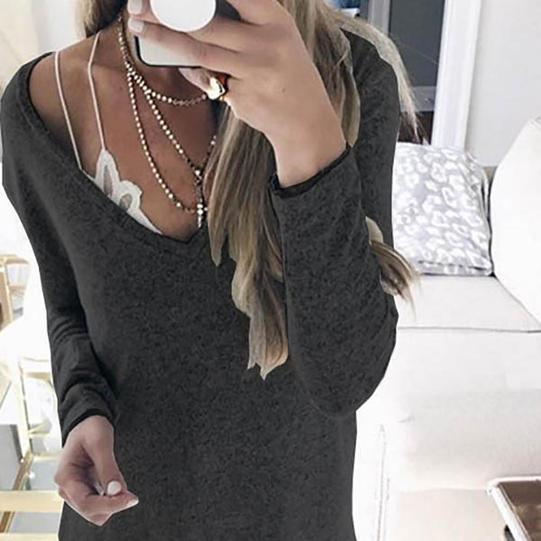 Autumn And Winter Long Sleeve V Neck Sweater