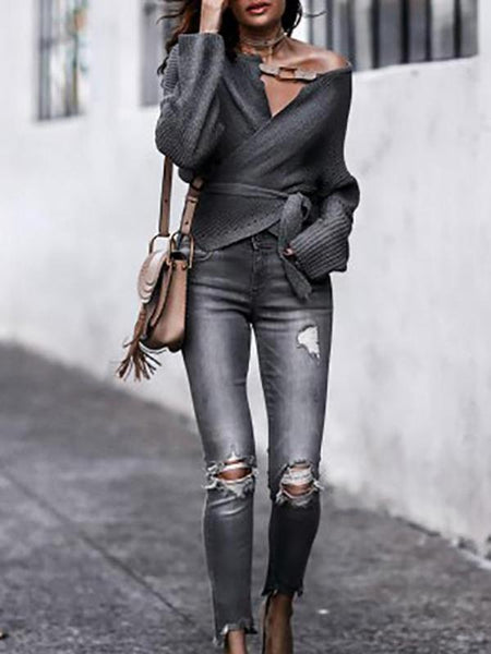 Fashion V-Neck Cross Lace Up Sweater