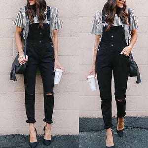 Fasion Solid Color Hole Slim Overalls Jumpsuits