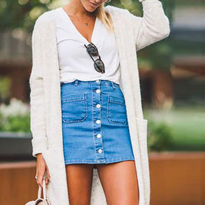 Fashion Denim Skirt Button Beaut